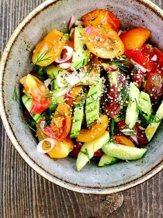 Armenian Cucumber with Heirloom Tomatoes, Spring Onions and Dill (raw, vegan)