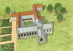 Titchfield Abbey as it may have appeared in the century. Drawing by Roger Hutchins © English Heritage Photo Library Medieval Houses, Medieval Life, Cathedral Architecture, Ancient Architecture, Fantasy Castle, Fantasy Map, St John The Evangelist, Hirst Arts, Building Stone