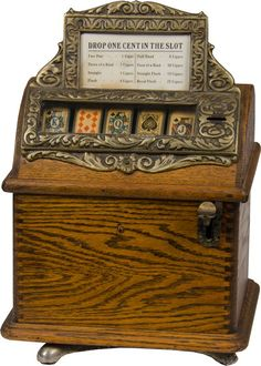 """1 Cent Caille """"Good Luck"""" Poker Card Countertop Cigar Trade Stimulator On Swivel Base Wood round-top ca. on Jan 2014 Night Couple, Family Game Night, Arcade Machine, Slot Machine, Poker, Arcade Console, Old Vegas, Wooden Cigar Boxes, Penny Arcade"""