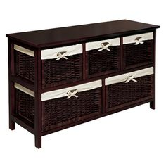Storage console with five removable baskets and washable fabric liners.    Product: Storage consoleConstruction Mate...