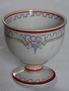 Ancien COQUETIER de collection faïence CREIL & MONTEREAU L.M et Cie 19e siècle