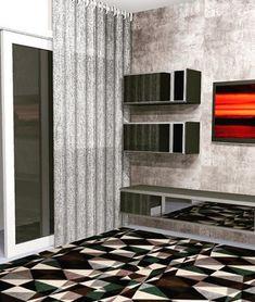 #NaianneVidalInteriores  Sala ampliada com textura em cimento queimado e moveis com frente em espelho. Valorizando a amplitude do ambiente. Blinds, Curtains, Photo And Video, Instagram, Home Decor, Contemporary Style, Mirror, Environment, Projects