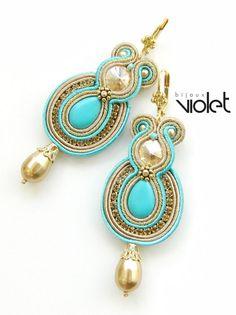 Soutache Earrings  Golden Turquoise III. by Violetbijoux on Etsy, $59.00