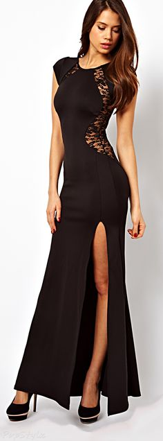Lace Inserts Maxi Evening Dress