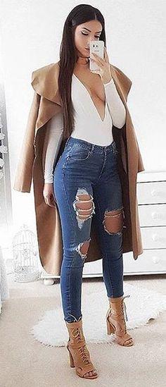 Camel Coat + White V-neck Top + Destroyed Skinny Jeans + Camel Laced Up Booties