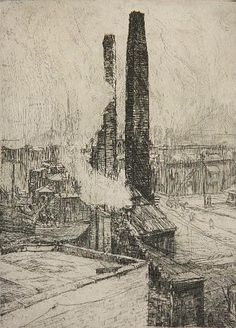 Frank Wilcox, Cleveland Flats, etching, ca. 1930
