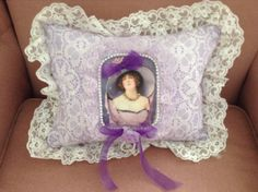 Throw pillow with image of Victorian lady by cindysvictorian