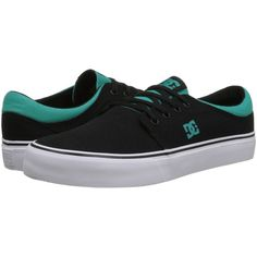 DC Trase TX Skate Shoes, Black ($31) ❤ liked on Polyvore featuring shoes, sneakers, skateboard, black, black shoes, canvas footwear, skate shoes, dc shoes and low top canvas sneakers