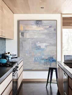 Vertical Grey contemporary painting #XB76B, Hand painted modern art on canvas by CZ Art Design @CelineZiangArt
