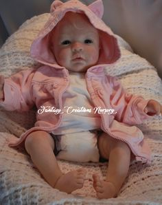 """Reborn Babies for Sale, Reborn Babies, Reborn Dolls.  Shyann is 19"""" has a soft body with 3/4 arms and 3/4 legs.  She wears newborn size and size 0 shoe."""