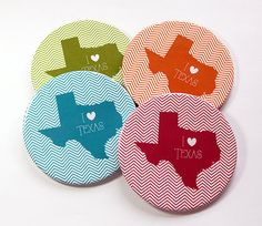 I Love Texas Coasters Drink Coasters Texas by KellysMagnets
