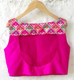 Fuchsia Padded Silk Brocade Blouse with Checkered by Amoristudios
