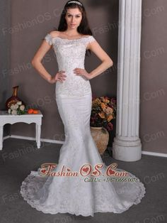 Fashionable Column Off The Shoulder Wedding Dress Brush Train Taffeta and Lace- $219.69http://www.fashionos.com  http://www.facebook.com/quinceaneradress.fashionos.us  For the sophisticated bride, there's this bridal wedding dress. This dress is strapless with a pronounced off-shoulder neckline. Rich applique works throughout the bust and bodice while a mermaid style contours your curve.