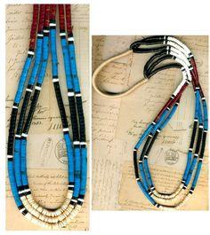 "Southwest Turquoise Heishi Necklace 3 Strands Red Jasper Shell Blackstone 29"""