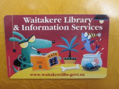 Library Card Waitakere Library New Zealand Library Cards, Library Services, Literacy, Reading, Cards, Reading Books