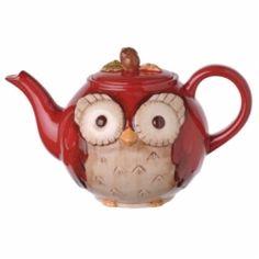 Amscan Grasslands Road Crimson Hollow Owl Teapot - Hoo ask for tea