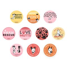 """Show off your love for MUTTS with this ter-ruff-ic assortmentof adoption-themed magnets.Keep them all for yourself or hand them out as gifts to fellow pet parents and animal rescuers! Set includes ten round magnets, each measuring 3"""" in diameter.This itemis part of our Love MUTTS collection to show appreciation for every kind of dog and cat."""
