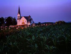 Minnesota Church near Lanesboro, Minnesota with an elegant steeple.