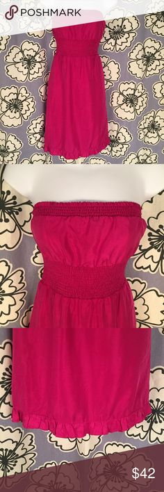 """Maeve Anthropologie Hot Pink Strapless Dress Sz 0 Brand: Maeve, Anthropologie Size: 0 Description: Strapless with ruffles Condition: Very Good Fabric: Shell: 100% silk; Lining: 100% acetate Bust: 30"""" Length: 29"""" Item #1616 Bundle Discount Available! Reasonable offers welcome! No trades please.. Thanks for stopping by!! #Poshmark #Poshmarkapp #Poshmarkcloset Anthropologie Dresses Strapless"""