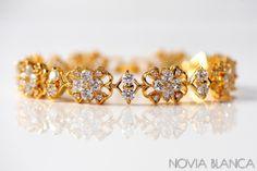 Złota bransoletka ślubna z kryształkami