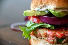 Salmon Burgers with Cilantro Mayo. I'm thinking lose the salmon patty (not a fan of salmon in a patty) and just use the remainder of the recipe to make a mahi mahi burger like the one from Front Street Grill in Lahaina, HI.