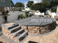 Semi Inground — Brothers 3 Pools Semi Above Ground Pool, In Ground Spa, In Ground Pools, Above Ground Pool Landscaping, Small Backyard Pools, Pool Deck Decorations, Semi Inground Pools, Pool Deck Plans, Pool Pavers