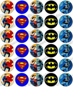 30 x Superman vs Batman Party Edible Rice Wafer Paper Cup Cake Toppers Jim Lee Superman Birthday Party, Batman Party, Superhero Party, Boy Birthday, Birthday Parties, Batman Vs Superman, Ninja Party, Wafer Paper, Paper Cupcake