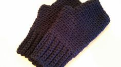Gloves Fingerless Mitts Navy Blue Crocheted Handmade by softtotouch on Etsy