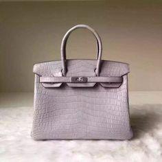 Hermes Birkin 30 35 Imported Crocodile Leather Bag Gray(SHW) 679db4476a586