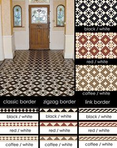 UK supplier of encaustic geometric flooring tiles in Victorian and Edwardian tile patterns. Black And White Tiles, Minton Tiles, Hallway Decorating, Tiles, Geometric Floor, Victorian Pattern, Flooring, Victorian Tiles, Geometric Tiles