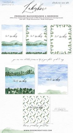 Lakeshore Watercolor Clipart Theme, Lakeside Watercolor Card Background Template Illustration | Lakeshore Wedding Invitation, Bridal Shower, Baby Shower, Instagram Stickers, Digital Stickers, Planner Stickers, Graphic Design Resources for Invitations, Stationery, Scrapbook Paper, Sublimation Design Ideas, Print and Cut Circuit Crafts and more | Click to see more>> #watercolor #lakeshore Nautical Invitations, Watercolor Wedding Invitations, Watercolor Cards, Watercolor Background, Watercolor Flowers, Invites, Invitation Background, Background Templates, Save The Date Cards