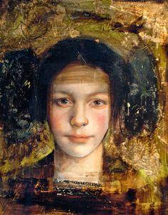 Sol Halabi, oil on canvas {contemporary #impressionist art painter female head gold leaf woman face portrait grunge painting}
