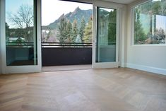 Custom White Oak chevron and White Oak, Walnut, and aluminum bordered Monticello pattern from Young Brothers Hardwood. Wood Floor Colors, Hardwood Floors, Flooring, White Oak, Chevron, Windows, Photo And Video, Pattern, Instagram