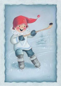 Postcrossing postcard from Finland Swedish Christmas, Christmas Elf, Christmas Colors, Vintage Christmas Cards, Vintage Cards, Hockey Drawing, Scandinavian Kids, Creation Photo, Funny Drawings