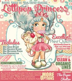 Lollipop Princess - Digital Stamp