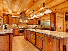 Holy log home kitchen!  I am in love!