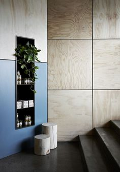 wall in lobby could be clad with limed oak veneer plywood and stainless steel division channels between: