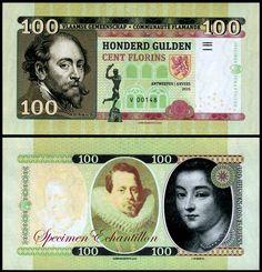 100 Gulden Flanders Belgium (Private Currency) 2015 Peter Paul Rubens (Painter) on front Flanders Belgium, Peter Paul Rubens, Banknote, Film Director, Ephemera, Writer, Graphic Design, Paper, Artist