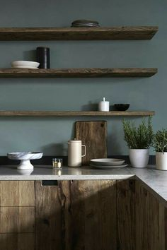 5 Smashing Clever Hacks: Bohemian Minimalist Home Dining Rooms minimalist kitchen island design bathroom.Minimalist Bedroom Apartment Rugs bohemian minimalist home dining rooms.Minimalist Home Tips People. Wooden Kitchen Cabinets, Floating Shelves Kitchen, Open Shelves, Kitchen Shelves, Blue Cabinets, Dark Wood Shelves, Dark Wood Cabinets, Rustic Cabinets, Upper Cabinets