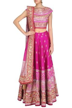 Bright Pink Party Lehenga Choli in Banarasi Silk Brocade