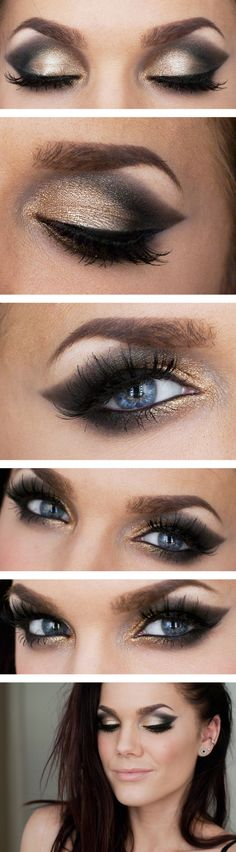 Gold & Black Glamorous Winged Eyeshadow love this so much more than w eyeliner!