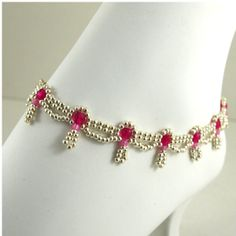 Hand Beaded Silver and Pink Ankle by ChainedByLightness on Etsy, $28.00