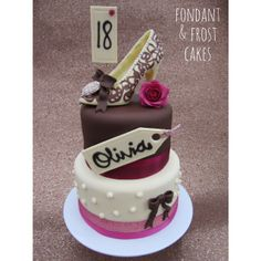 https://www.fondantandfrostcakes.com  18th Birthday Chocolate shoe and rose cake. Chocolate sponge with fudge filling, light chocolate buttercream, and chocolate flavoured fondant icing.