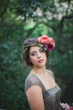 Floral hair crown.