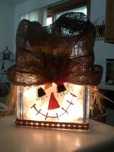 Scarecrow/Snowman lighted glass block decoration | eBay