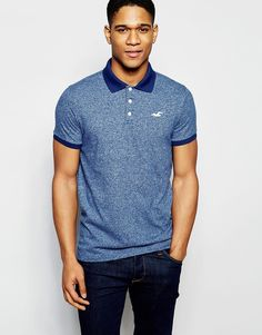 62f08d856 Hollister Polo Shirt with Seagull Logo in Slim Fit Blue at asos.com