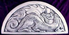 Relief Carved Ceramic Dragon Tile Relief