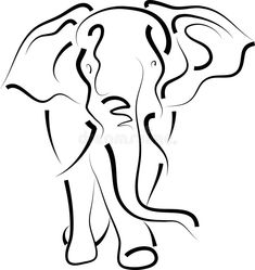 Illustration about Isolated brush stroke elephant art work. Illustration of line, artwork, isolated - 13864206 Elephant Tribal Tattoo, Tribal Tattoos, Simple Elephant Tattoo, Henna Elephant, Indian Elephant, Tribal Art, Elephant Line Drawing, Elefante Tattoo, Elephant Face
