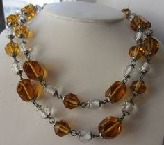Wonderful Art Deco Amber & Clear Crystal Necklace