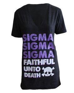 Sigma Sigma Sigma Faithful V-neck by Adam Block Design | Custom Greek Apparel & Sorority Clothes | www.adamblockdesign.com